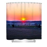 Sunrise From Confederate Avenue Gettysburg Shower Curtain