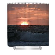 Sunrise From The Waves Shower Curtain