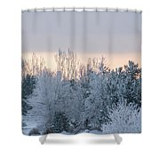 Sunrise Glos Behind Trees Frozen Trees Shower Curtain