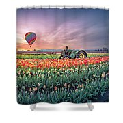 Sunrise, Hot Air Balloon And Moon Over The Tulip Field Shower Curtain