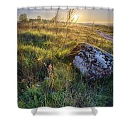 Sunrise In Field. Stone In Front Shower Curtain