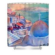 Sunrise In Oia Santorini Greece Shower Curtain