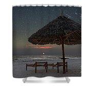 Sunrise In Tropical Beach Of Zanzibar With Starry Sky Shower Curtain
