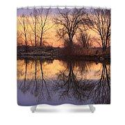 Sunrise Lake Reflections Shower Curtain