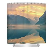 Sunrise Lovatnet, Norway Shower Curtain