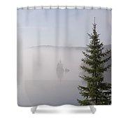 Sunrise Mist Lingers On The Lake Shower Curtain