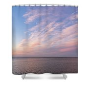Sunrise Moonset - Feathery Clouds And Crescent Moon Over Water Shower Curtain