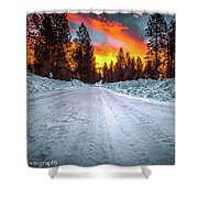Sunrise On A Rural Road Shower Curtain