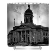 Sunrise On Cherokee County Courthouse In Black And White Shower Curtain