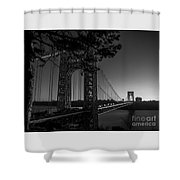 Sunrise On The Gwb, Nyc - Bw Landscape Shower Curtain