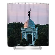 Sunrise On The Pennsylvania Monument Gettysburg Battlefield Shower Curtain