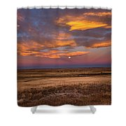 Sunrise On The Plains - Moon Over Prairie In Eastern Colorado Shower Curtain
