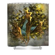 Sunrise On The Tree Pixies Shower Curtain