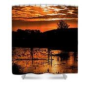Sunrise Over A Pond Shower Curtain