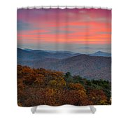 Sunrise Over Blue Ridge Parkway. Shower Curtain