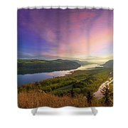 Sunrise Over Columbia River Gorge Shower Curtain