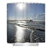 Sunrise Over Folly Beach Pier Shower Curtain