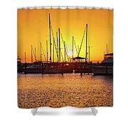 Sunrise Over Long Beach Harbor - Mississippi - Boats Shower Curtain