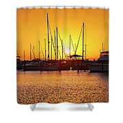 Sunrise Over Long Beach Harbor - Mississippi - Boats Shower Curtain