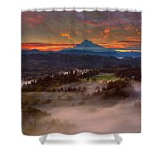 Sunrise Over Mount Hood And Sandy River Valley Shower Curtain