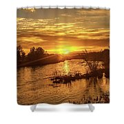 Sunrise Over  Payette River Shower Curtain