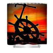 Sunrise Over The Captain's Wheel 2 Shower Curtain
