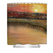 Sunrise Over The Marsh Shower Curtain