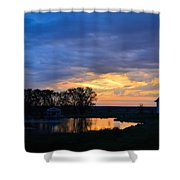 Sunrise Over The Pond Shower Curtain