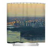 Sunrise Over Vancouver Bc And Stanley Park Panorama Shower Curtain