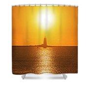 Sunrise Over Whaleback Light Portsmouth Nh New Hampshire Shower Curtain