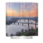 Sunrise Over Willamette River By Portland Shower Curtain