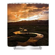 Sunrise Over Winding River Shower Curtain by Wesley Aston