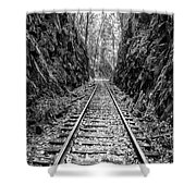 Sunrise Rails Black And White Vertical Panorama Shower Curtain