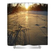 Sunrise Reflecting Off Mississippi River Ice Shower Curtain
