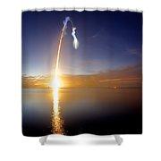 Sunrise Rocket Shower Curtain