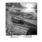 Sunrise Rowboats  In Black And White Shower Curtain