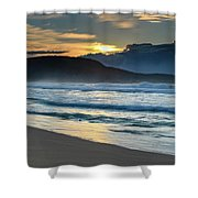 Sunrise Seascape With Headland And Clouds Shower Curtain