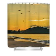Sunrise Seascape With Mountain And Birds Shower Curtain