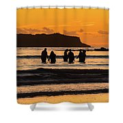 Sunrise Seascape With People Silhouettes Shower Curtain