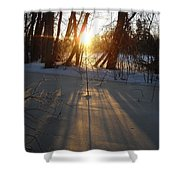 Sunrise Shadows On Ice Shower Curtain