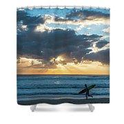 Sunrise Surfer Running Delray Beach Florida Shower Curtain