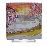 Sunrise Surreal Modern Landscape Painting Fine Art Poster Print Shower Curtain