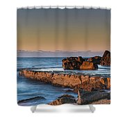 Sunrise, The Sea And Tessellated Rock Platform Shower Curtain