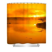 Sunrise Through Lake Mist Shower Curtain