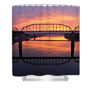 Sunrise Walnut Street Bridge 2 Shower Curtain by Tom and Pat Cory