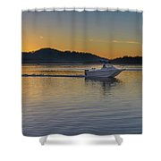 Sunrise Waterscape And Boat On The Bay Shower Curtain