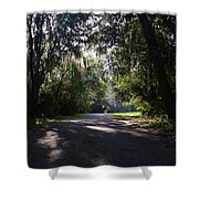 Sunrise,trees And Shadows Shower Curtain