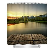 Sunset Above A Lake In High Tatra Mountains In Slovakia Shower Curtain