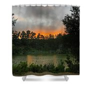 Sunset Above The Forest And Lake Shower Curtain