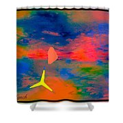 Sunset Abstract With Windmill Shower Curtain